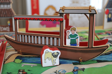 World Village Playset - China Canal Boat and Wooden Figures