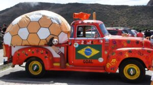 Wildly painted Brazilian truck with giant soccer ball