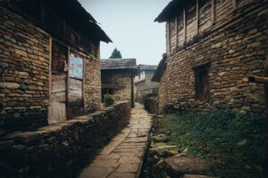 Nepali village with stone houses
