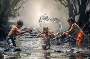 summer fun splashing in the water